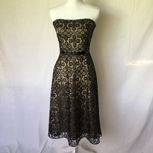 Black dress lace overlay size 7 strapless Delias